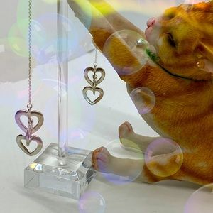Sterling Silver Dangle Interlocking Heart Earrings